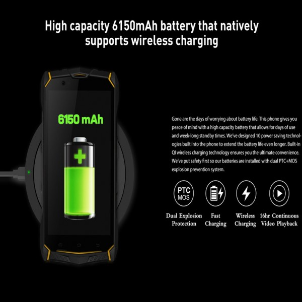 HiDON 5.5 inch Octa-core Android rugged phone with 4G+64G 6150mAh battery NFC IP68 waterproof mobile phone