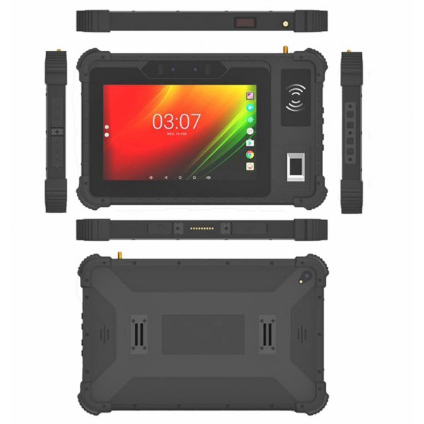 "HiDON 8"" Android Industrial Tablet with Front NFC front Fingerprint 2D Barcode UHF RFID reader SMA RS232 RJ45 POE function outdoor Tablet PC computer rugged tablets"